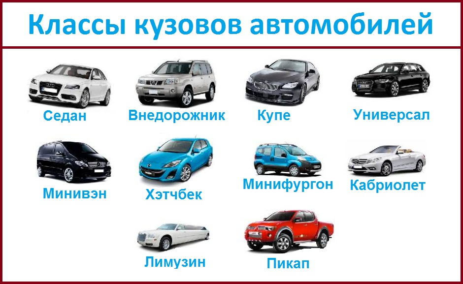 Виды легковых автомобилей фото